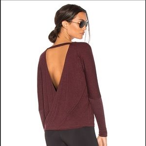 Onzie Drapey Open V Back Pullover Top